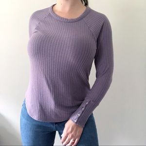 Chaser Purple Waffle Knit Thermal Top Size Medium